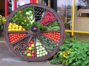 Wagenrad dekoriert mit verschiedenen Gemüsesorten