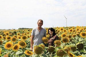 Bernhard Schreyer mit Liane Regner von der Marktgesellschaft der Naturland Bauern AG im Sonnenblumenfeld